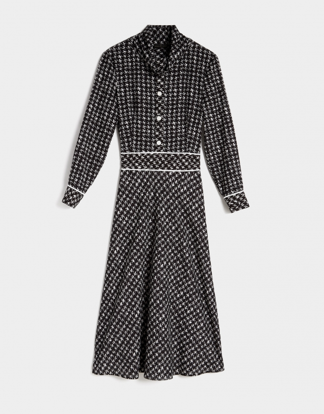 Black and blue print midi shirtwaist dress