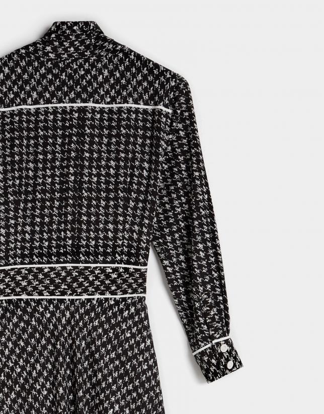 Black and white houndstooth print midi shirtwaist dress