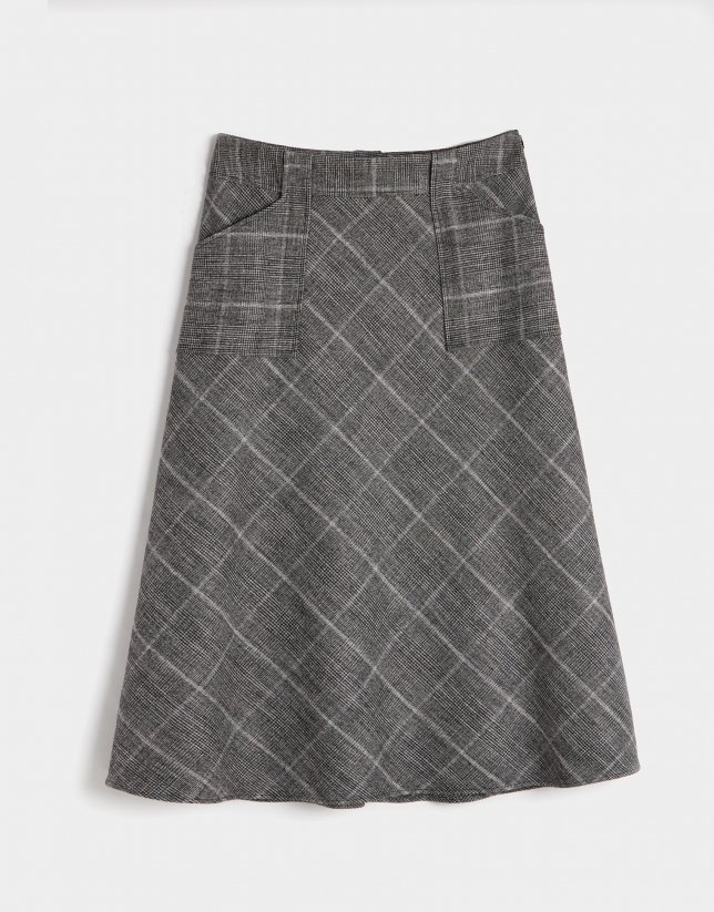 Falda midi cuadro gales gris