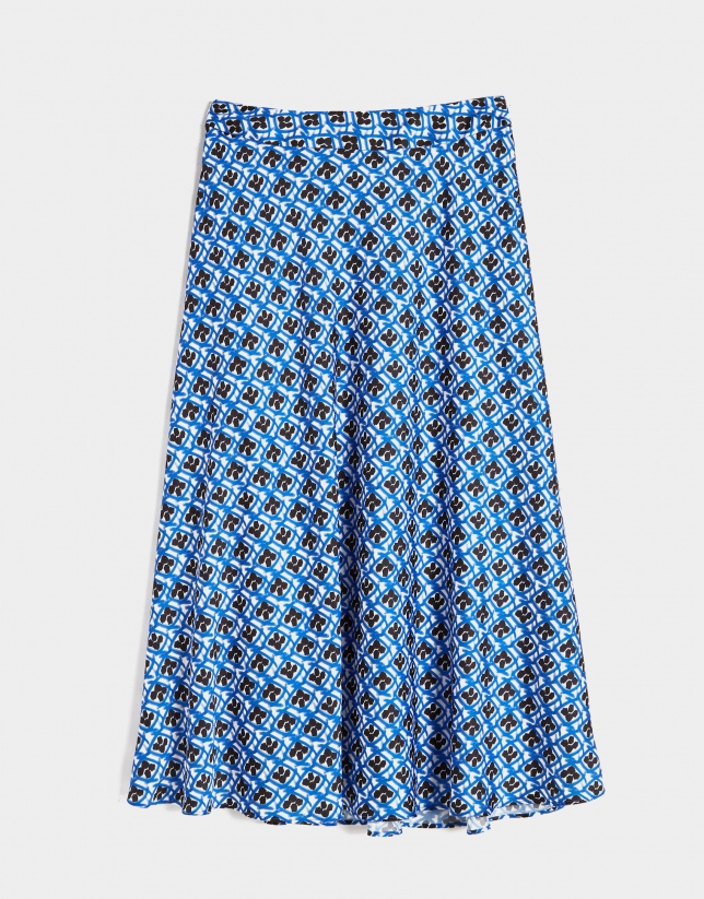 Black and blue geometric print long skirt