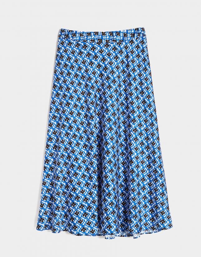 Falda larga estampado geométrico azul/negro