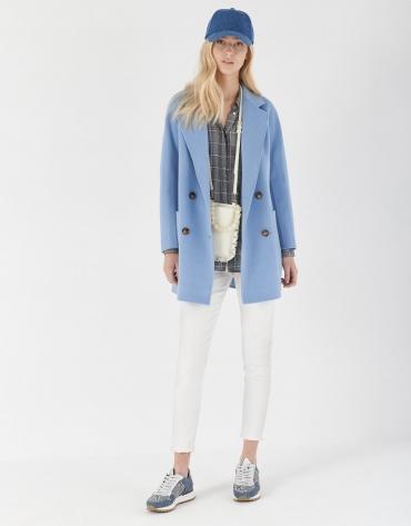 Abrigo corto cruzado lana azulón