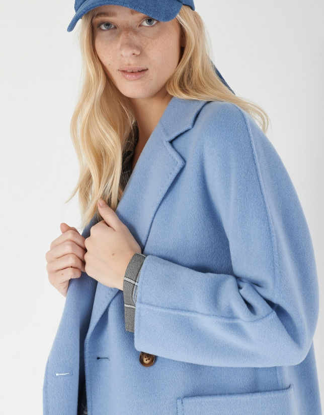Deep blue wool double-breasted coat