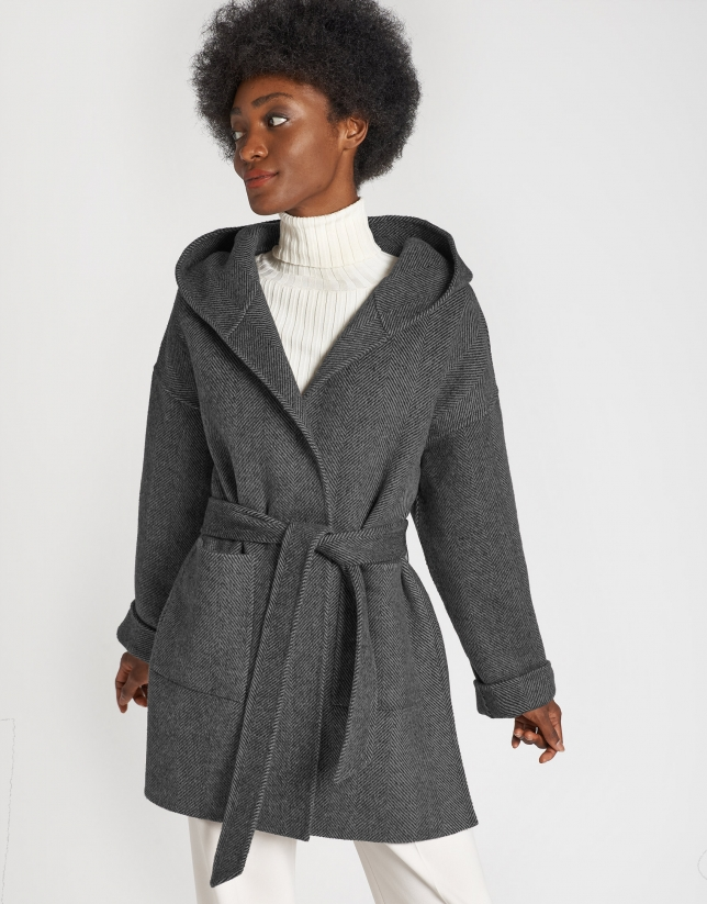 Grey wool short coat