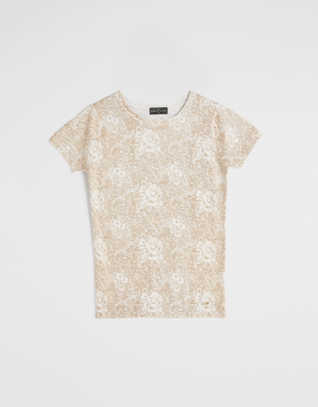 Beige floral print top with short sleeves