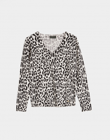 Black and white animal print top with long sleeves