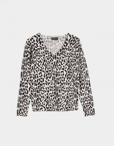 Camiseta manga larga animal print blanco y negro