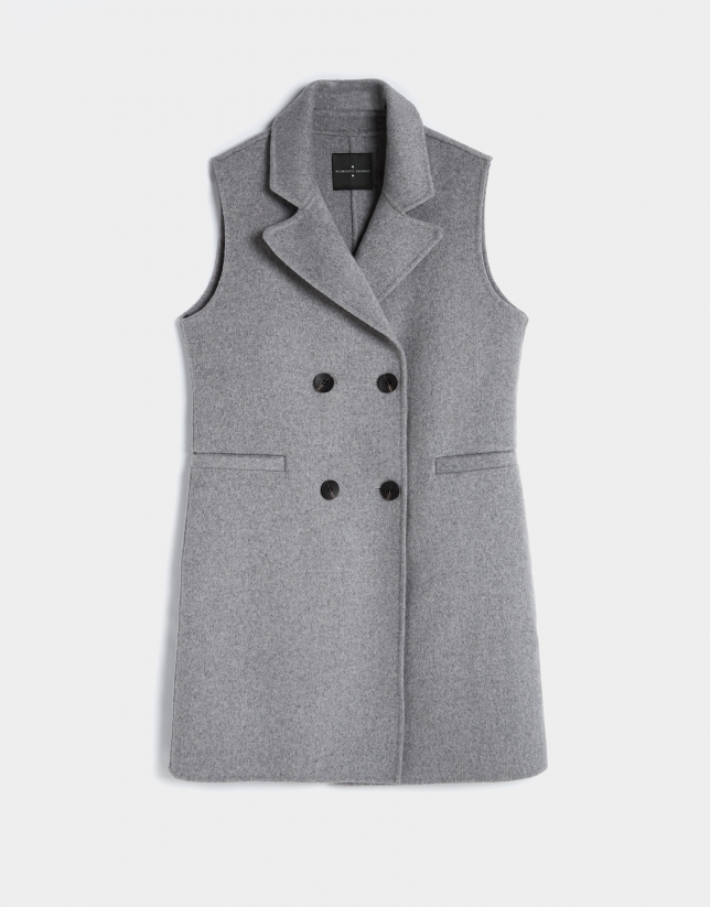 Long grey wool vest