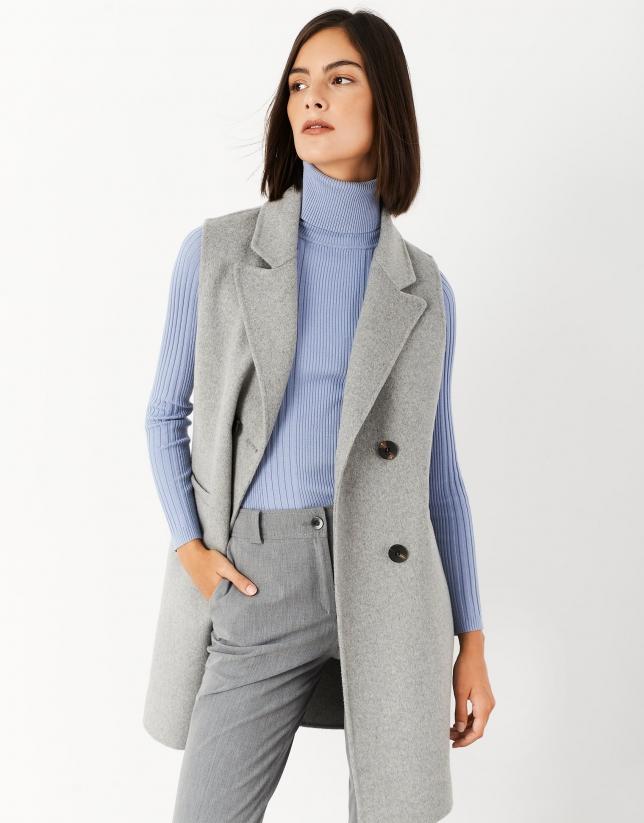Chaleco largo lana gris
