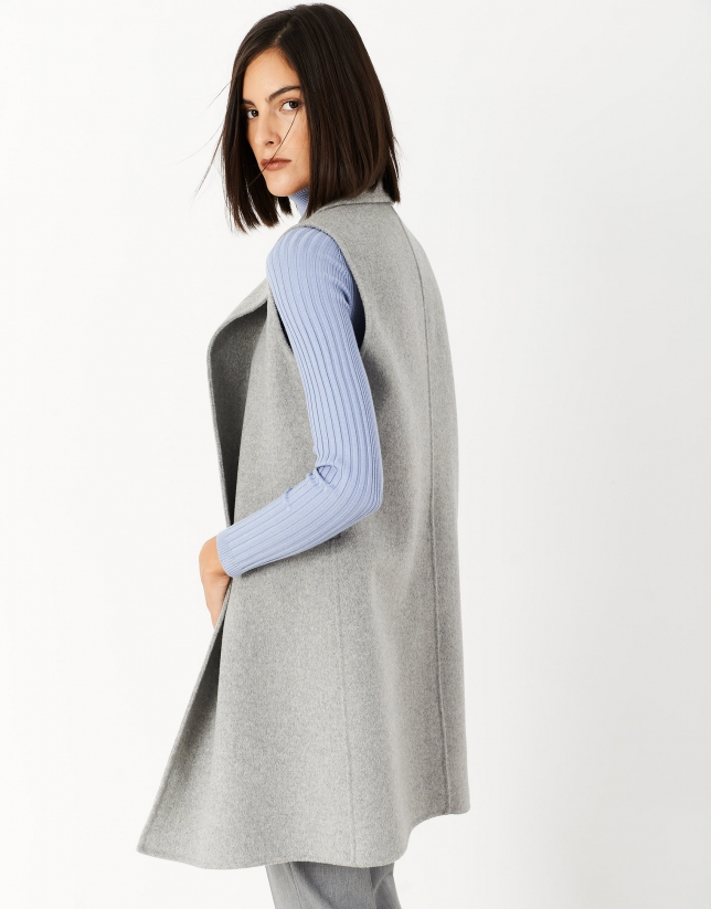 Long double-breasted gray wool vest