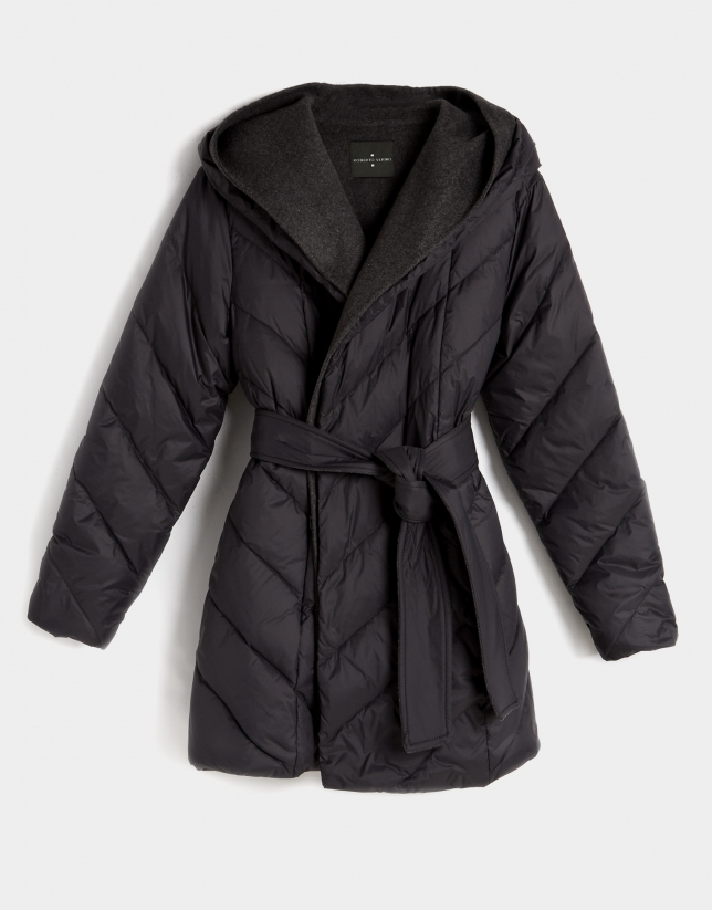 Grey quilted coat with vest inside
