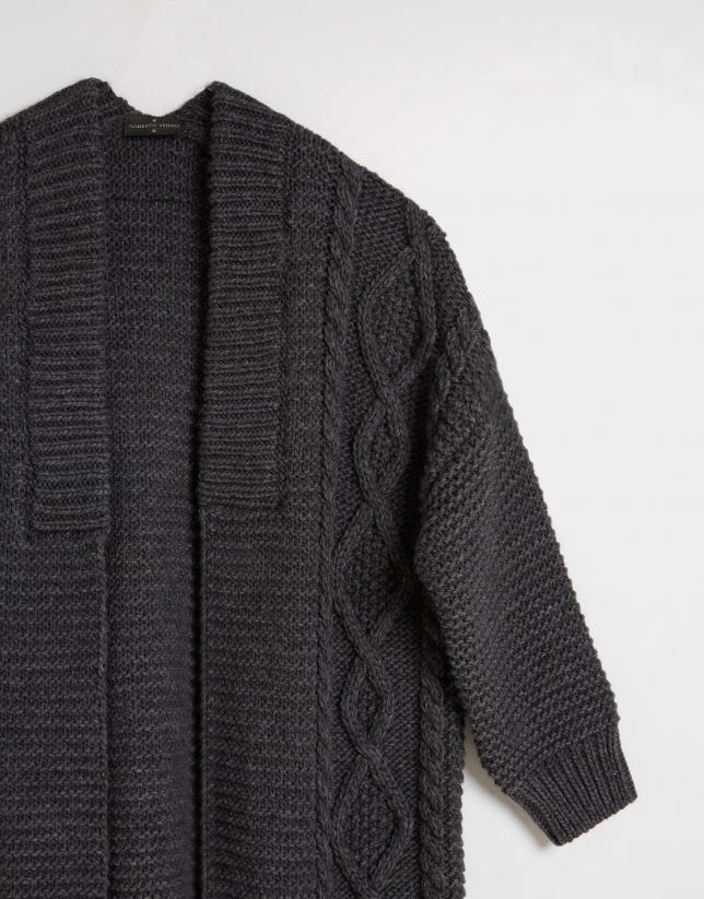 Grey knit long jacket