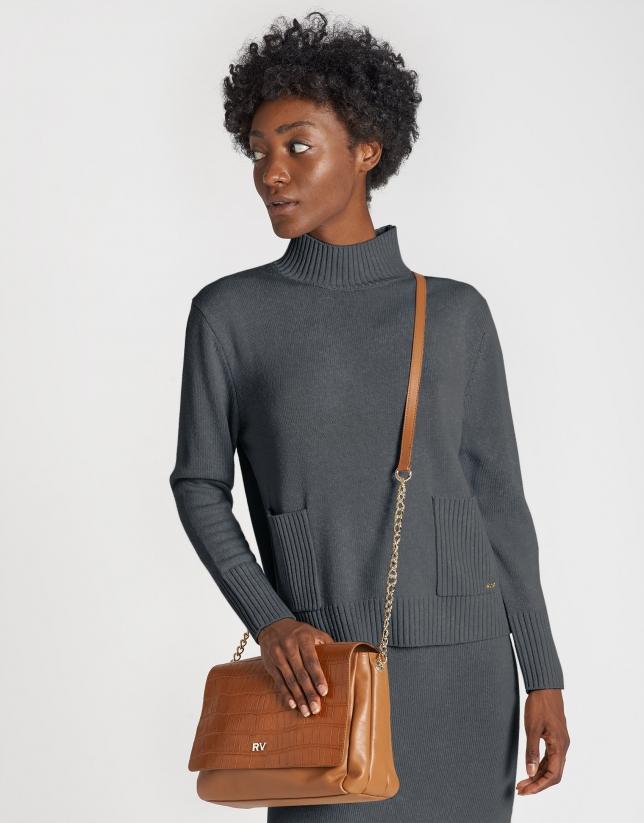 Jersey ancho bolsillos gris