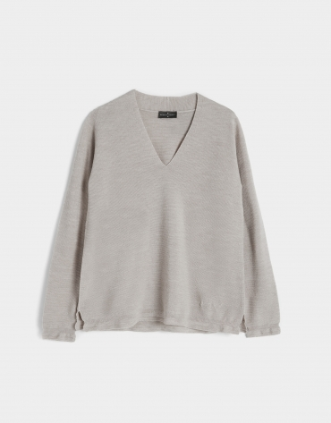Taupe knit V-neck sweater