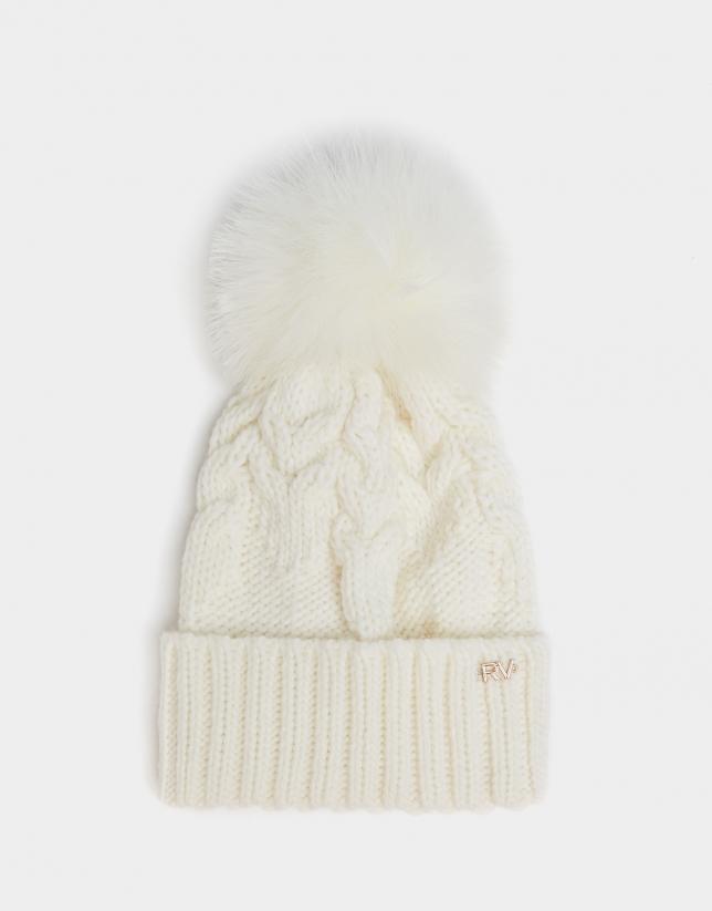 Beige braided alpaca and wool cap