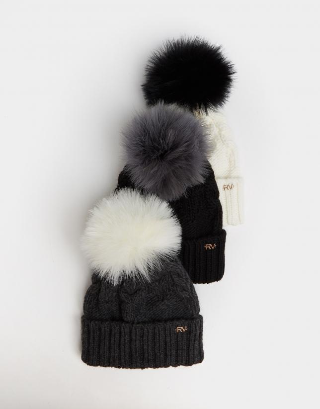 Gray braided alpaca and wool cap