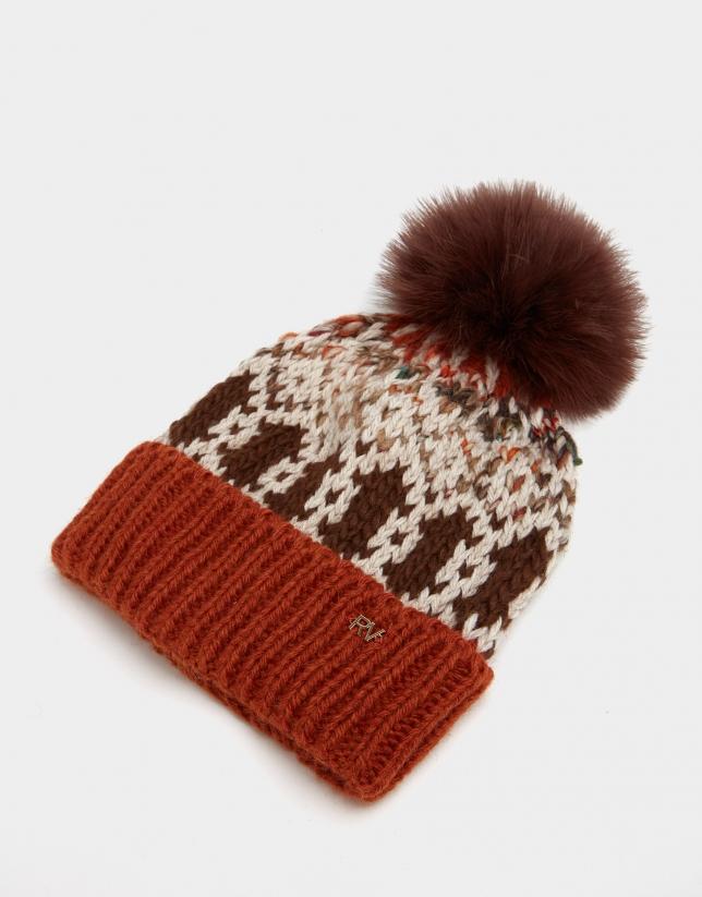 Brick red geometric jacquard cap with pompom