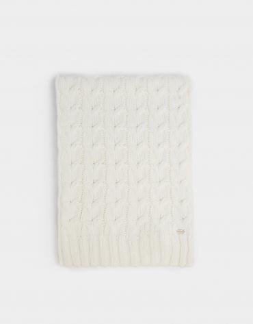 Bufanda lana y alpaca trenzada crudo
