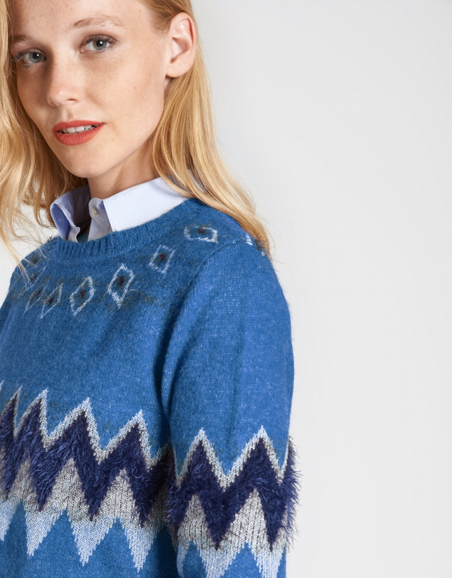 Blue sweater with alpine design