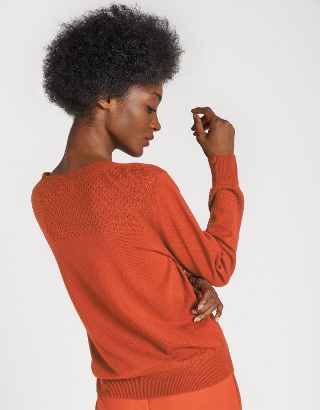 Dark brick openwork sweater
