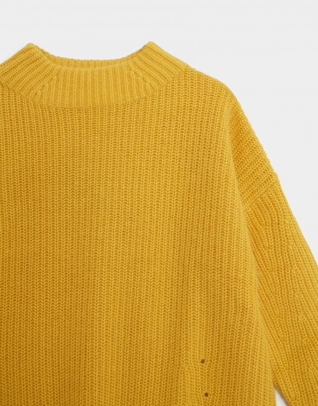Yellow oversize thick knit sweater