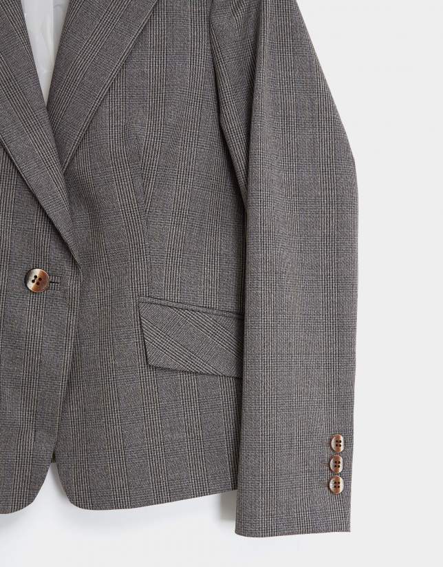 Gray and camel glen plaid blazer