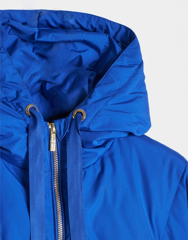 Blue down quilted windbreaker with hood