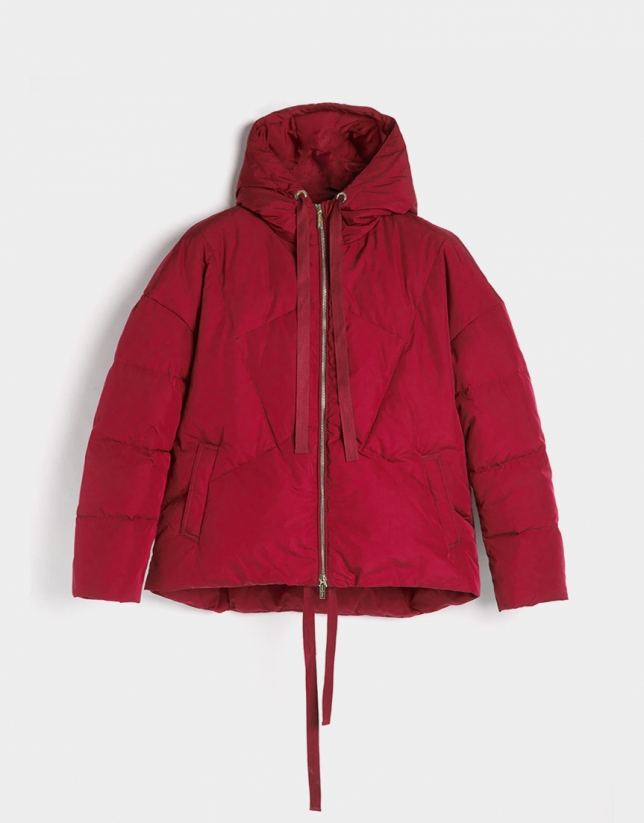 Red down quilted windbreaker with hood