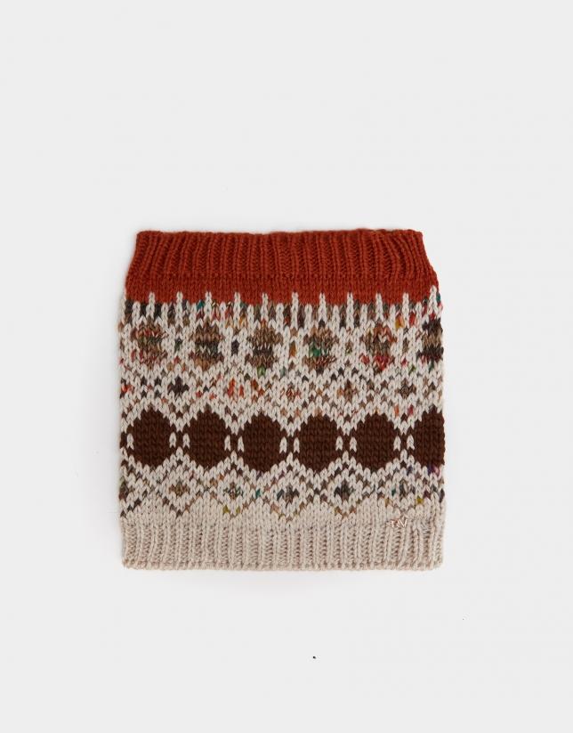 Geometric jacquard tubular scarf