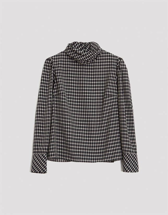 Black and white checked shirt with puffed sleeves