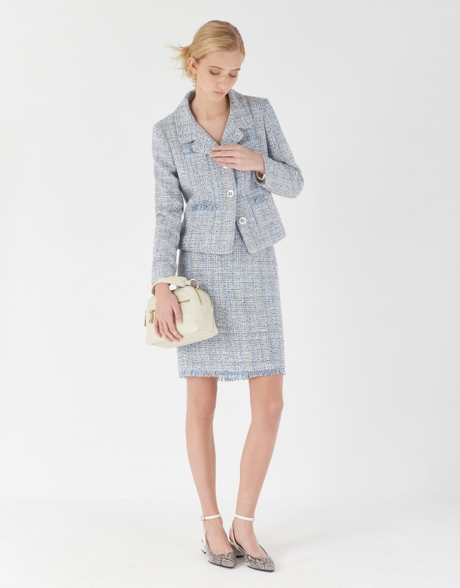 Falda corta desflecada jacquard azul claro
