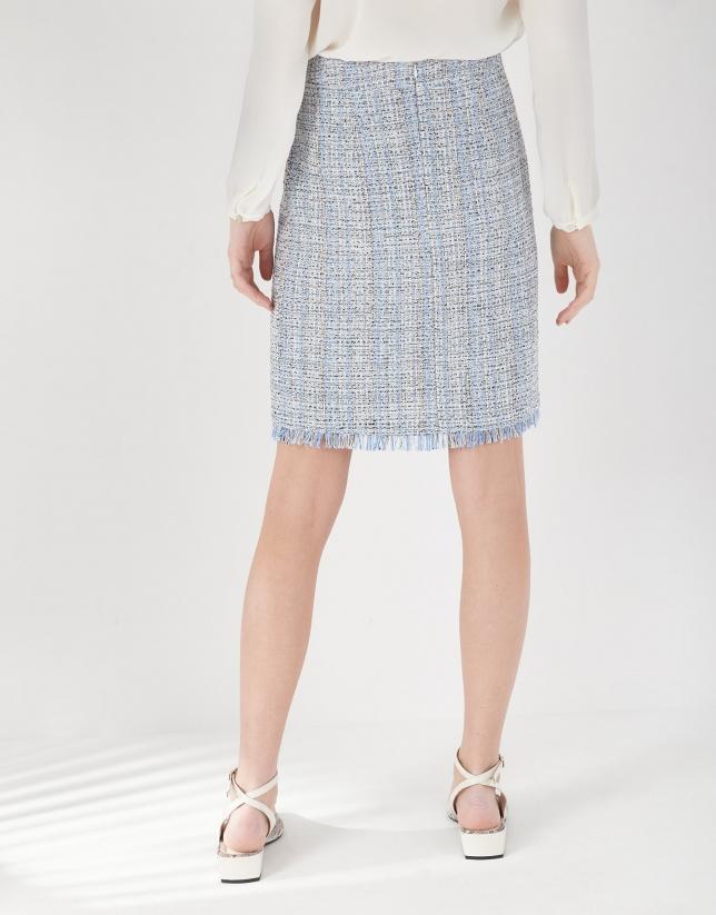 Light blue jacquard short skirt with fringe