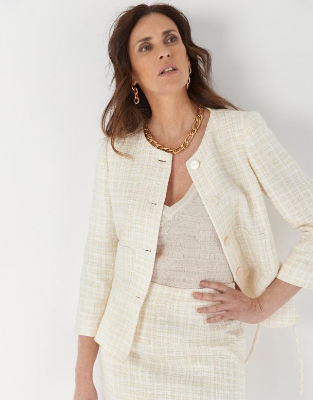 Ivory jacquard short skirt with fringe