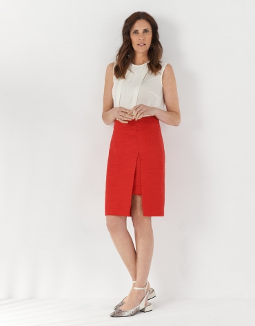 Carmine red midi skirt with slit
