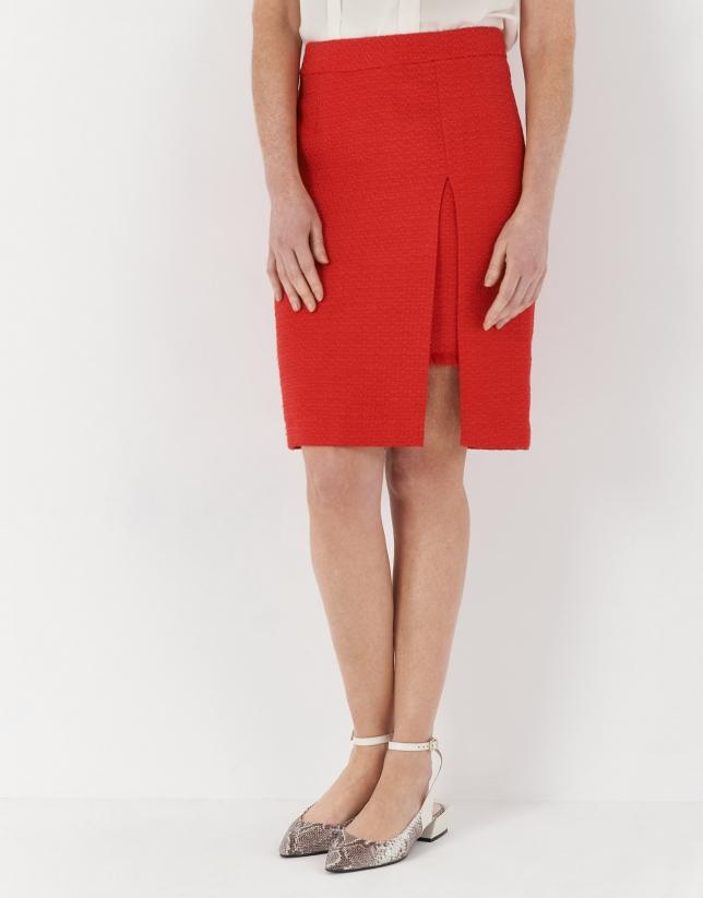Carmine red midi skirt with slit