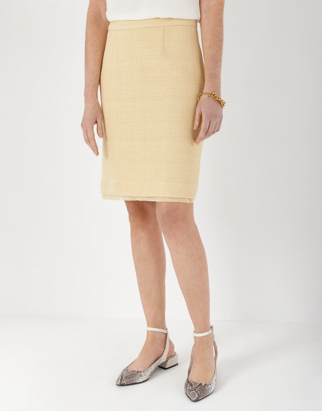 Yellow jacquard skirt