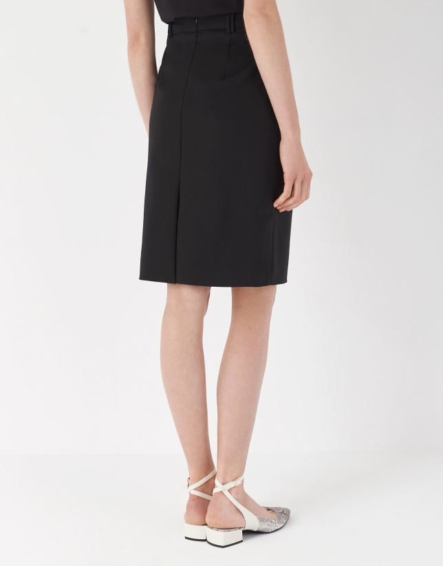 Black midi skirt with belt loops