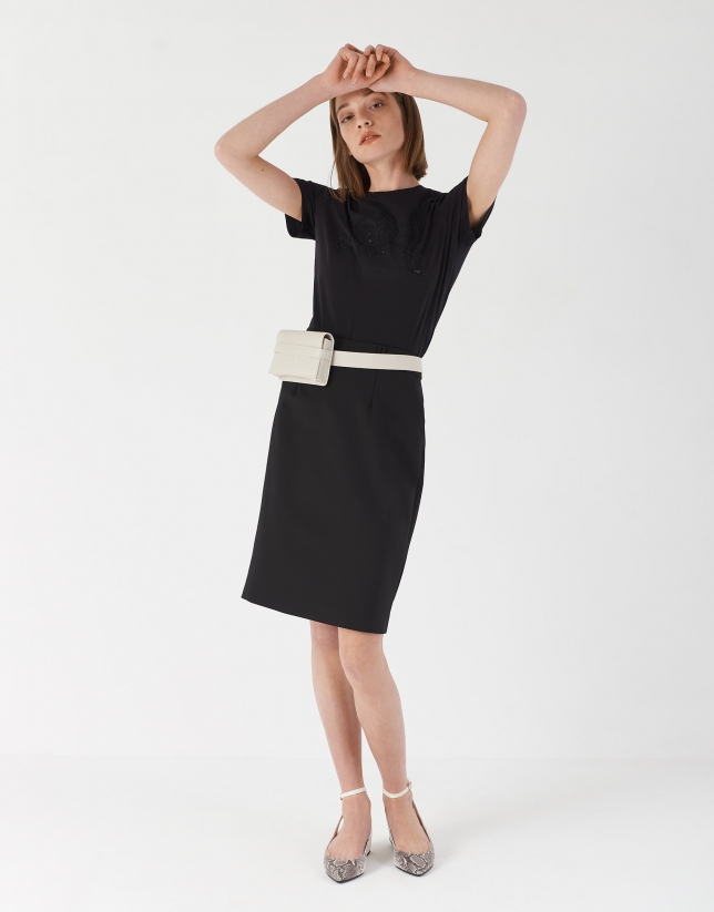 Black midi skirt with belt loops