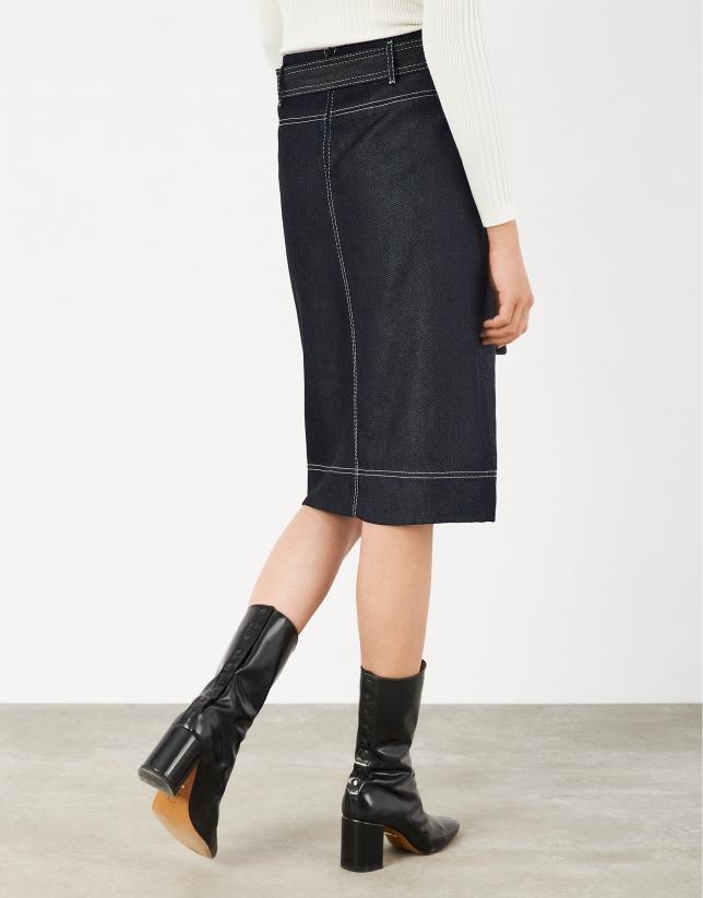 Midi jean skirt with belt