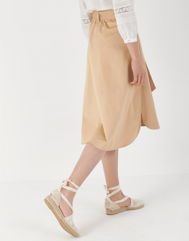 Sand-colored midi skirt with rounded hem