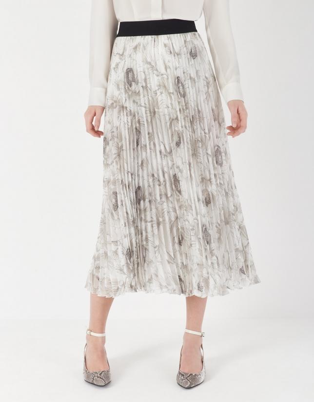 Falda plisada estampado floral crudo