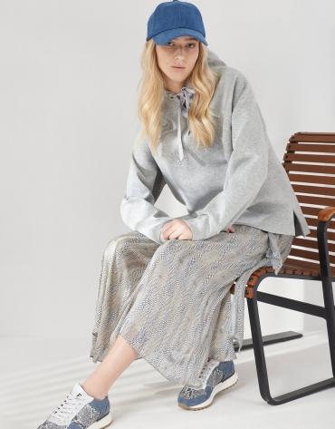 Falda midi estilo pareo estampada tonos azules