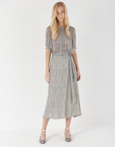 Blue print sarong-style midi skirt