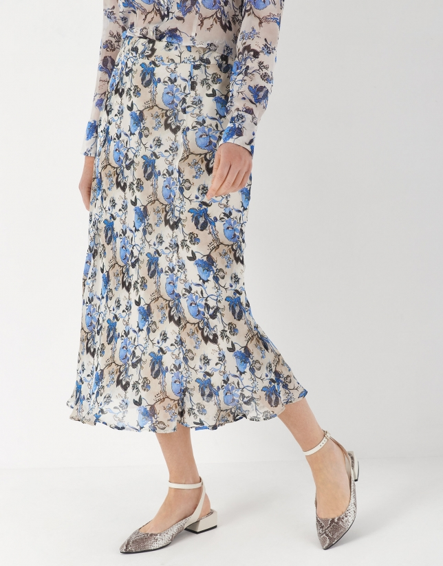 Falda midi con evasé estampado floral azul