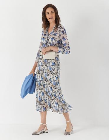 Blue floral print evasé midi skirt