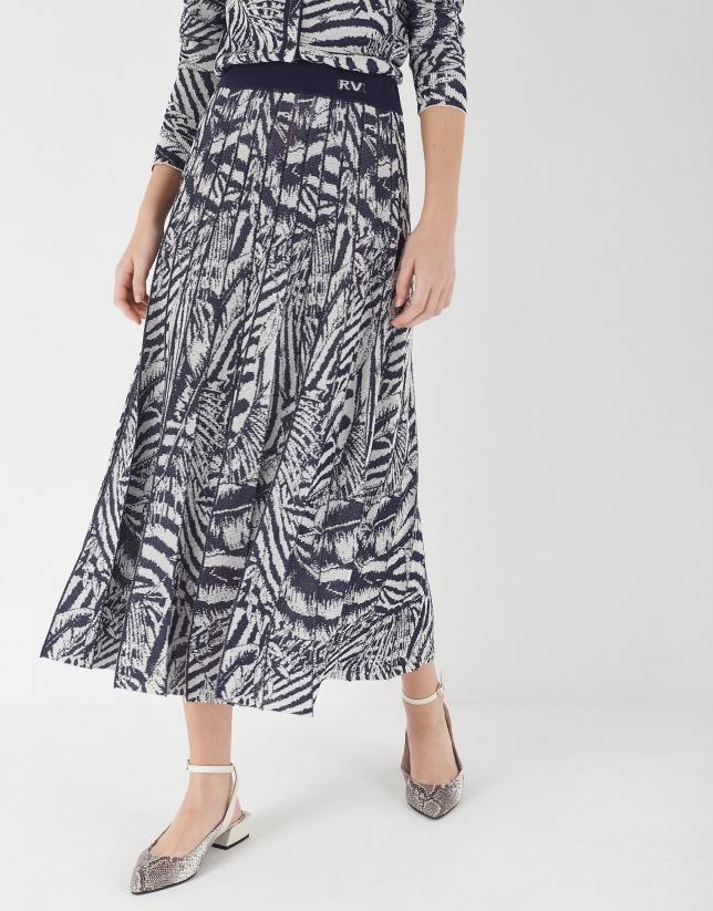 Blue print jacquard knit pleated skirt
