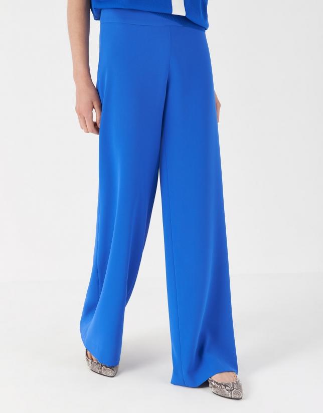 Blue crepe palazzo pants