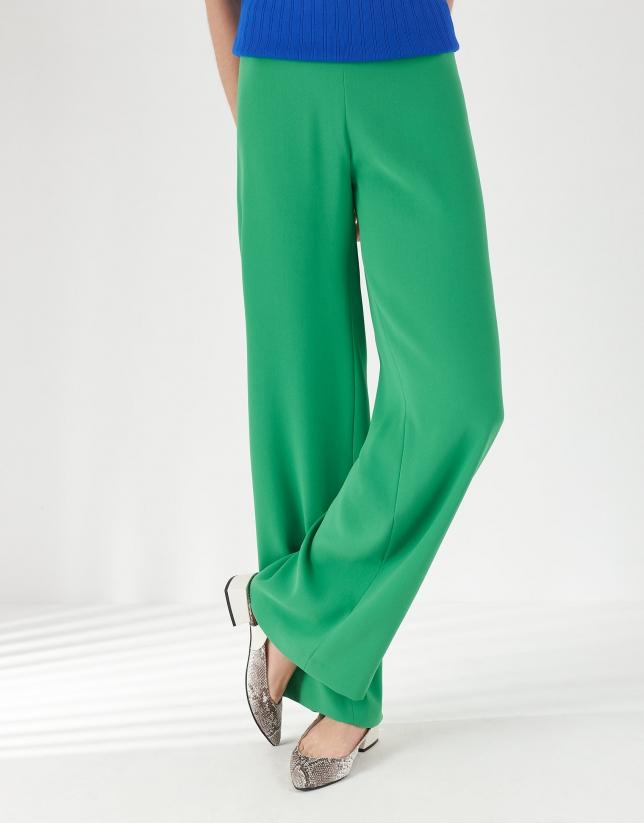 Green crepe palazzo pants