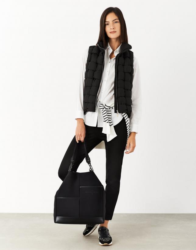 Black cigarette pants with decorative zippers