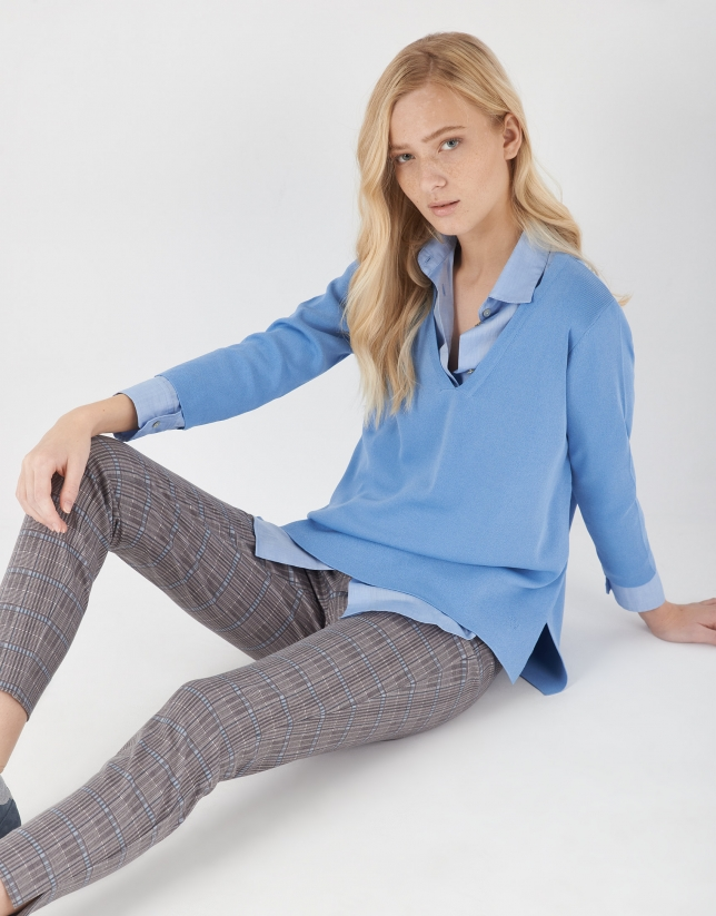Gray and blue checked cigarette pants